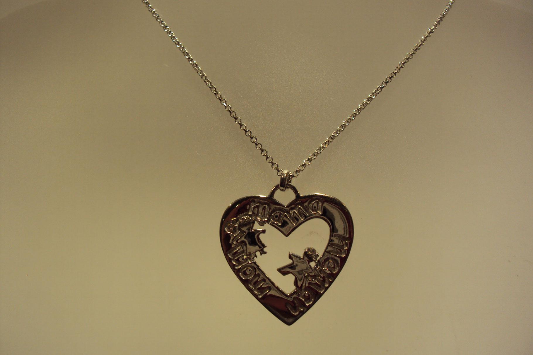 Colgante corazón mamá Lotus plata 39e