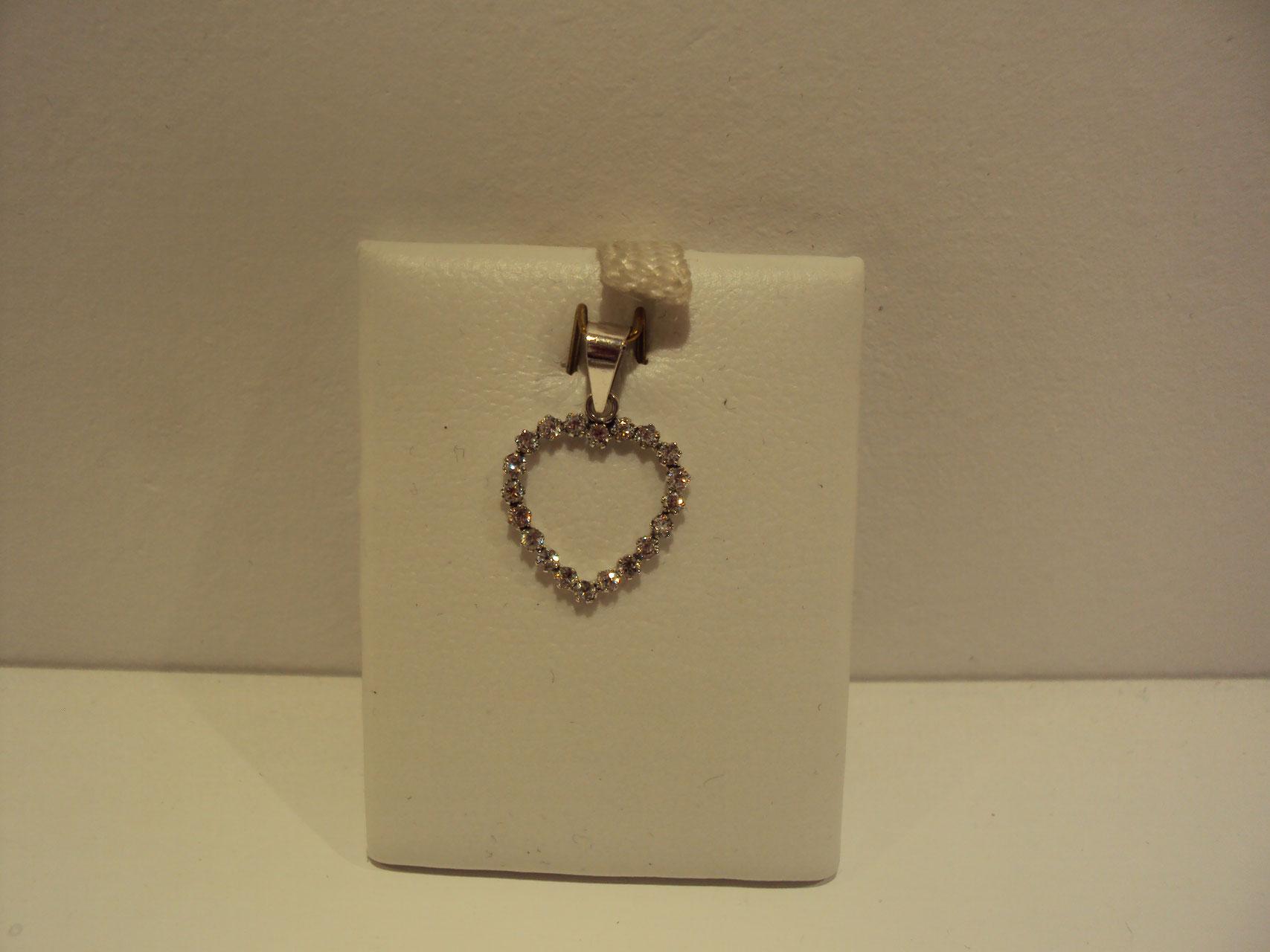 Corazón oro blanco con circonitas 85e