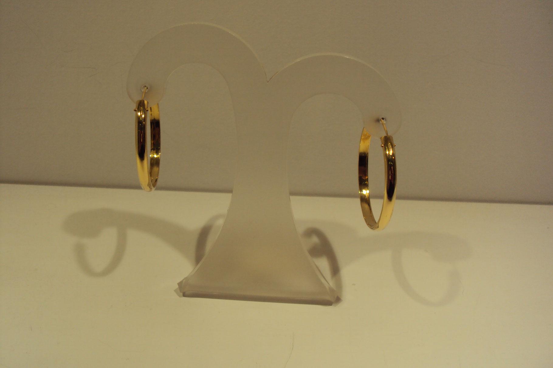 Aros de oro 18 quilates 3cm de diámetro 265e