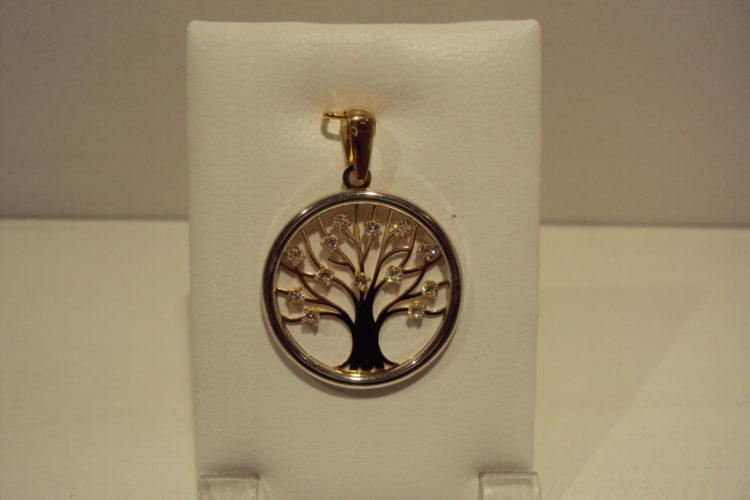 Árbol de la vida bicolor con circonitas en las ramas 170e