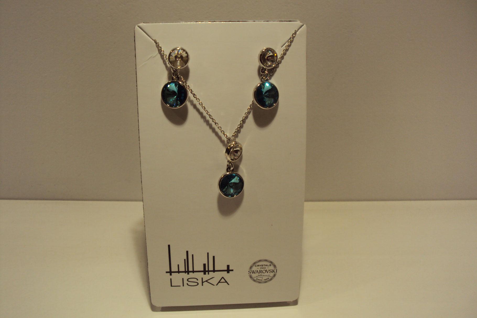 Conjunto plata Liska de pendientes y colgante con piedras Swarovski transparentes y azul turquesa. 39€