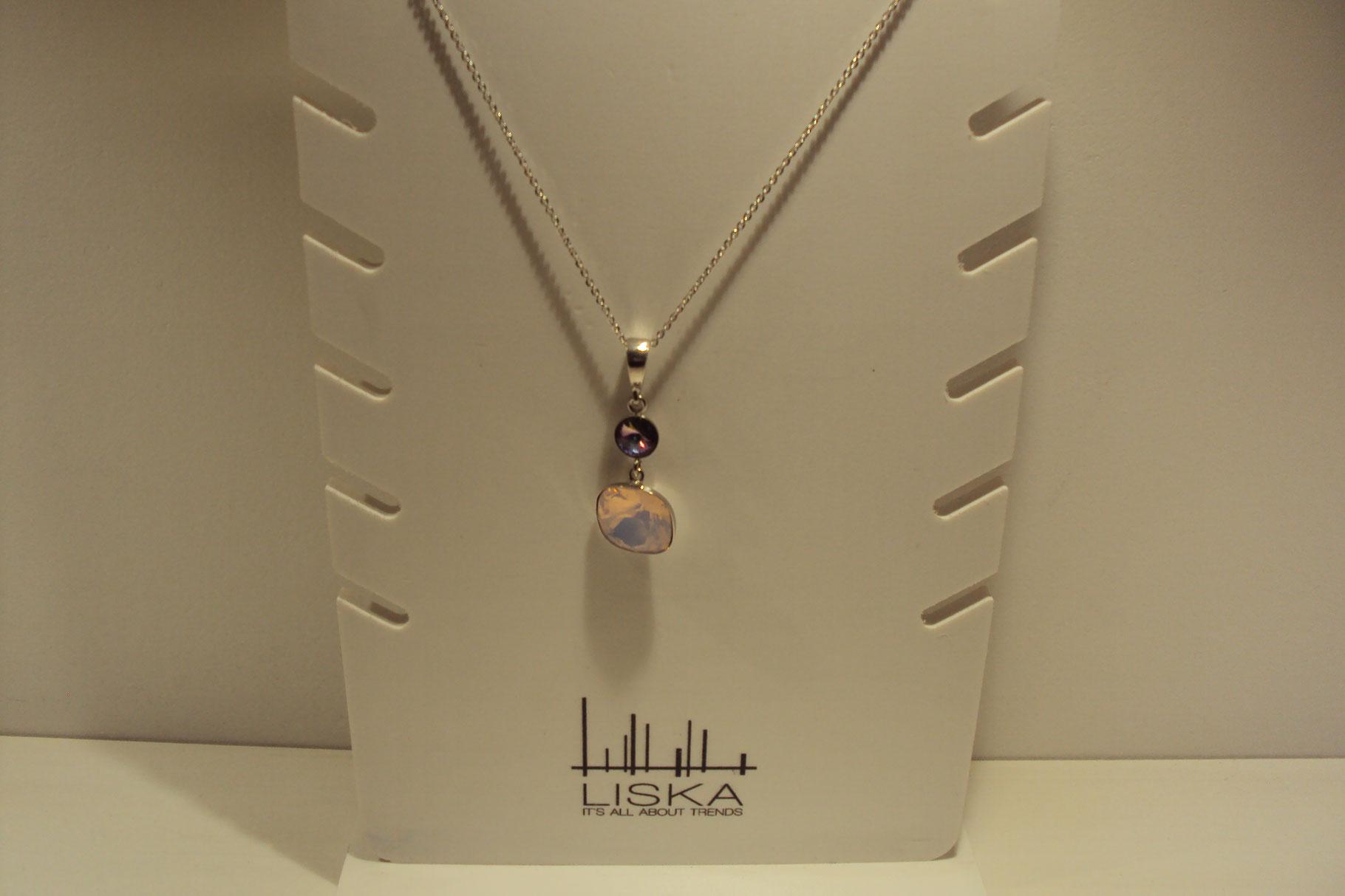 Colgante de plata Liska con piedras Swarovski maslvas y lilas.39€