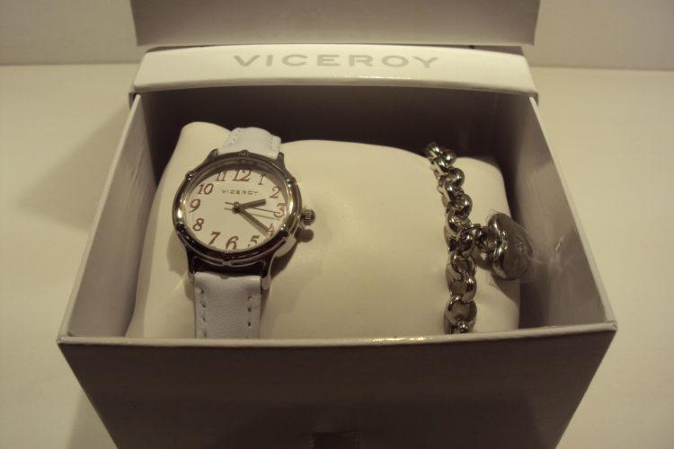 Reloj Viceroy correa piel blanca con pulsera de corazón de regalo.69€