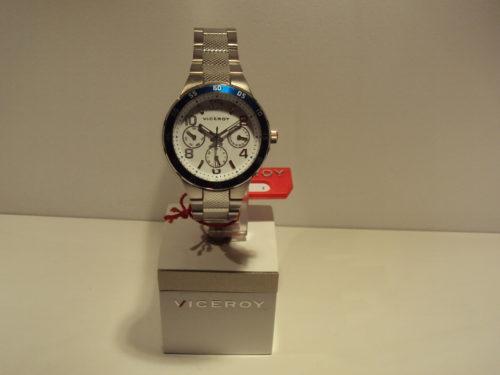 Reloj de cadete con esfera blanca y bisel azul.79€