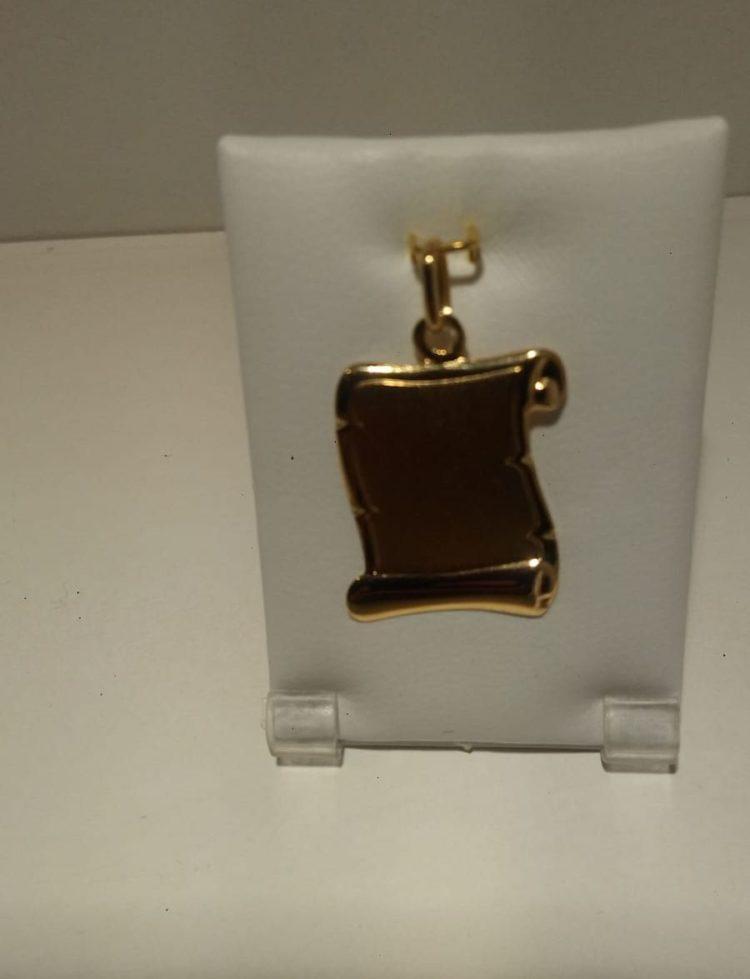 Placa `pergamino de oro amarillo de 2cm