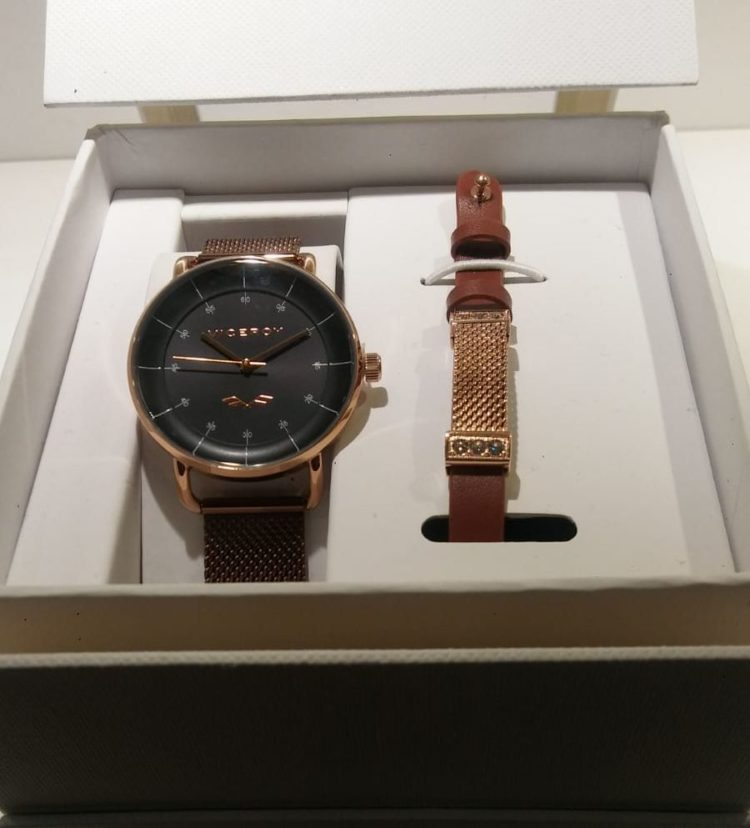 Reloj Viceroy de mujer pavonado y rosa y chocolate. Totalmente de acero, impermeable 50 metros y con pulsera de regalo.
