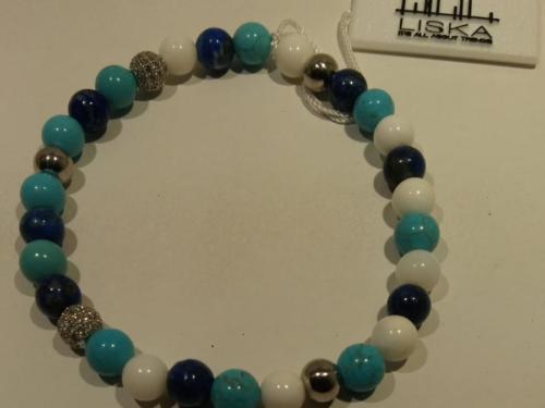 Pulsera Liska con piedras naturales Pulsera con piedras naturales lapislázuli y turquesas de la marca Liska. Precio 25€